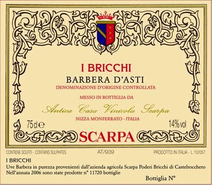 Scarpa Barbera d'Asti 'I Bricchi'