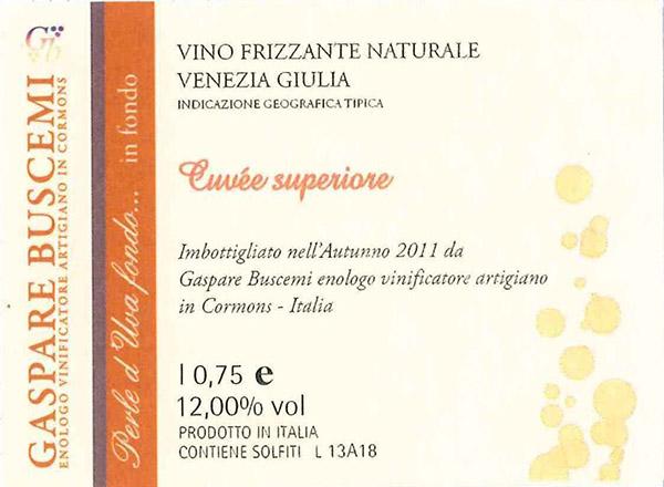 Gaspare Buscemi Venezia Giulia Frizzante Naturale 'Perle d'Uva'