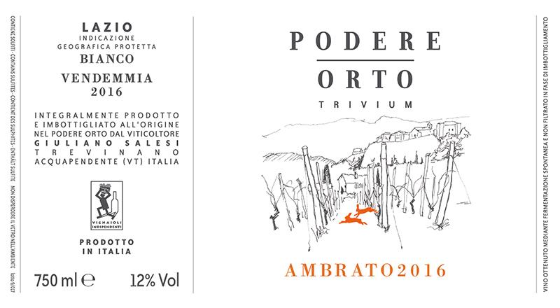 Podere Orto Lazio Bianco 'Trivium Ambrato' 2016